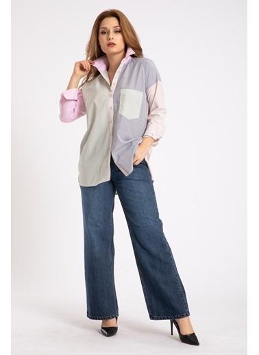 Madame Sare  Kadın Çok Renk Çizgili Oversize Gömlek Renkli